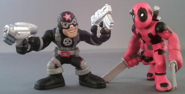 Marvel Super Hero Squad COMPLETE Wave 6 DEADPOOL /& PUNISHER as Capt America